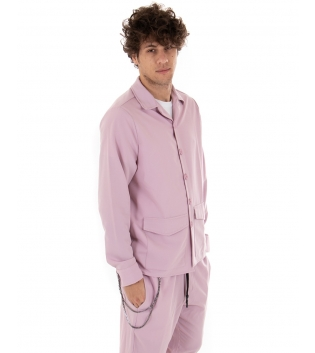 Camicia Uomo Maniche Lunghe Tinta Unita Rosa Colletto Casual GIOSAL