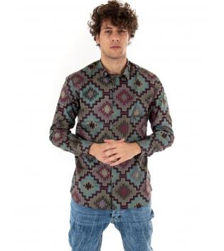 Camicia Uomo Sartoria Migliaccio Limited Edition Fantasia Geometrica Multicolore GIOSAL
