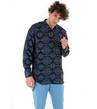 Camicia Uomo Floreale Blu Limited Edition Sartoria Migliaccio Casual GIOSAL