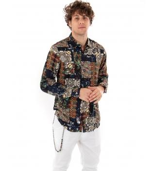 Camicia Uomo Maniche Lunghe Viscosa Fantasia  Casual Multicolore GIOSAL