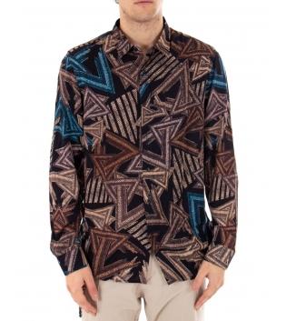 Camicia Uomo Maniche Lunghe Viscosa Casual Multicolore Fantasia Geometrica GIOSAL