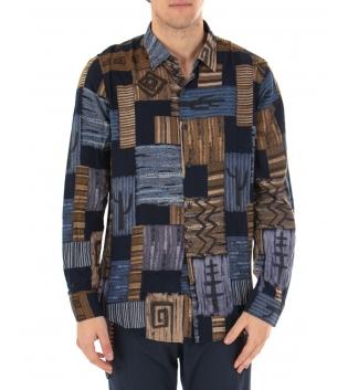 Camicia Uomo Maniche Lunghe Viscosa Casual Multicolore Fantasia GIOSAL