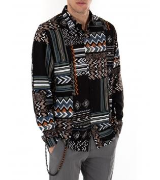 Camicia Uomo Maniche Lunghe Viscosa Multicolore Fantasia Geometrica GIOSAL