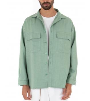 Camicia Uomo Maniche Lunghe Tinta Unita Oversize Verde Casual GIOSAL-Verde-S
