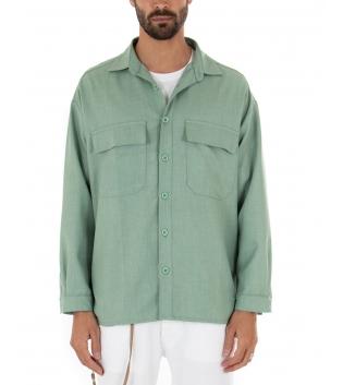 Camicia Uomo Maniche Lunghe Tinta Unita Oversize Verde Casual GIOSAL