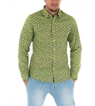 Camicia Uomo Maniche Lunghe Fantasia Floreale Verde Slim GIOSAL-Verde-S
