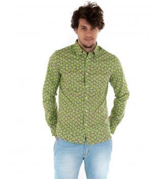 Camicia Uomo Maniche Lunghe Fantasia Floreale Verde Slim GIOSAL