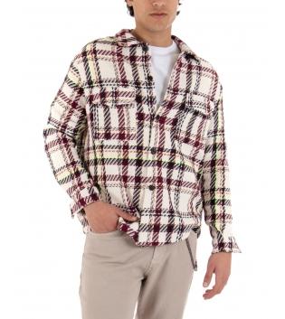 Camicia Uomo Quadri Multicolore Giubbotto Maniche Lunghe GIOSAL