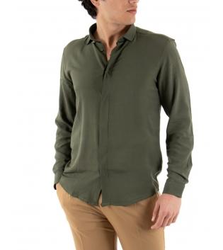 Camicia Uomo Maniche Lunghe Comfy Viscosa Tinta Unita Verde GIOSAL-Verde-S