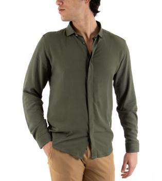 Camicia Uomo Maniche Lunghe Comfy Viscosa Tinta Unita Verde GIOSAL