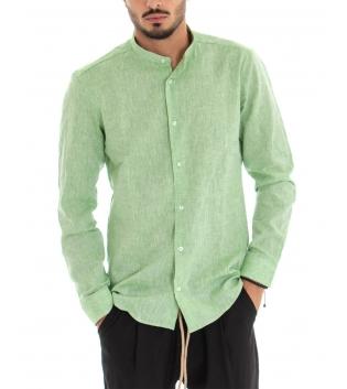 Camicia Uomo Lino Paul Barrell Artigianale Tinta Unita Verde Collo Coreano GIOSAL-Verde-S