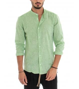 Camicia Uomo Lino Paul Barrell Artigianale Tinta Unita Verde Collo Coreano GIOSAL