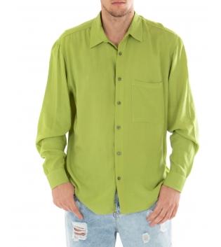Camicia Uomo Tinta Unita Verde Viscosa Colletto Maniche Lunghe Casual GIOSAL-Verde-S