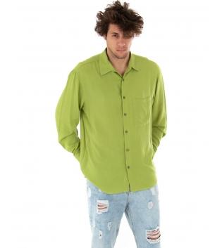 Camicia Uomo Tinta Unita Verde Viscosa Colletto Maniche Lunghe Casual GIOSAL