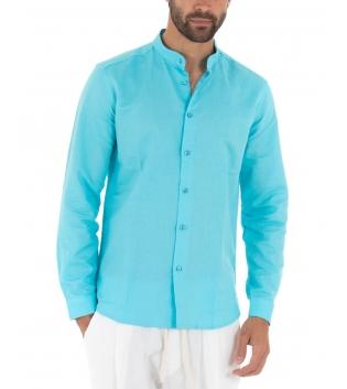 Camicia Uomo Lino Paul Barrell Tinta Unita Turchese Collo Coreano Artigianale GIOSAL