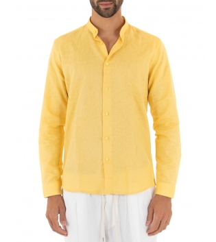 Camicia Uomo Lino Paul Barrell Tinta Unita Giallo Collo Coreano Artigianale GIOSAL