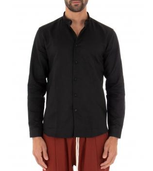 Camicia Uomo Lino Paul Barrell Tinta Unita Nera Collo Coreano Artigianale GIOSAL