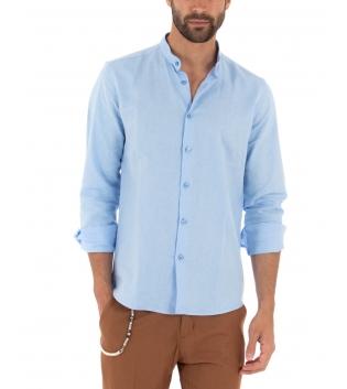 Camicia Uomo Lino Paul Barrell Tinta Unita Celeste Collo Coreano Artigianale GIOSAL