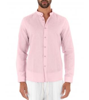 Camicia Uomo Lino Paul Barrell Tinta Unita Rosa Collo Coreano Artigianale GIOSAL