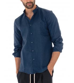 Camicia Uomo Lino Paul Barrell Tinta Unita Blu Collo Coreano Artigianale GIOSAL