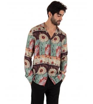 Camicia Uomo Paul Barrell Multicolore Viscosa Fantasia Maniche Lunghe GIOSAL