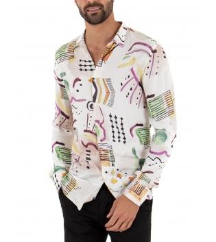 Camicia Uomo Fondo Bianco Stampe Multicolore Colletto Maniche Lunghe GIOSAL