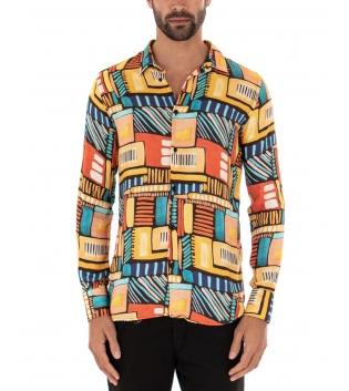 Camicia Uomo Multicolore Colletto Fantasia Geometrica Casual Paul Barrell Viscosa GIOSAL