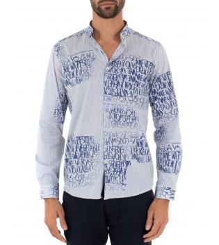 Camicia Uomo Maniche Lunghe Azzurra Rigata Scritte Colletto Maniche Lunghe GIOSAL