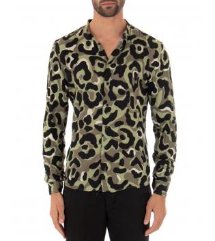 Camicia Uomo Viscosa Multicolore Maniche Lunghe Mimetica Colletto GIOSAL