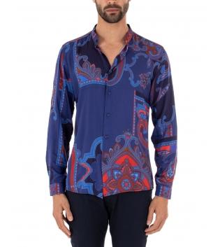 Camicia Uomo MOD Maniche Lunghe Blu Colletto Maniche Lunghe Casual GIOSAL