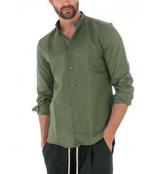 Camicia Uomo Lino Paul Barrell Tinta Unita Verde Militare Collo Coreano Artigianale GIOSAL