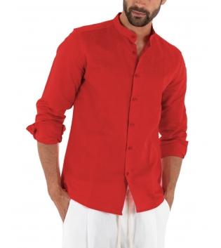 Camicia Uomo Lino Paul Barrell Tinta Unita Rosso Collo Coreano Artigianale GIOSAL