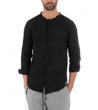 Camicia Uomo Cotone Bordi Sfrangiati Tinta Unita Nero Casual GIOSAL