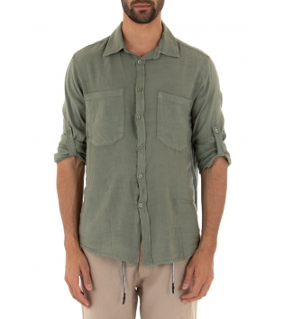 Camicia Uomo Lino Verde Militare Maniche Lunghe Colletto Tasche Casual GIOSAL