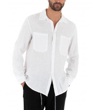 Camicia Uomo Lino Bianco Maniche Lunghe Colletto Tasche Casual GIOSAL