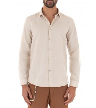 Camicia Uomo Lino Paul Barrell Colletto Tinta Unita Beige Sartoriale GIOSAL