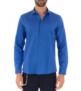 Camicia Uomo Lino Paul Barrell Colletto Tinta Unita Blu Royal Sartoriale GIOSAL