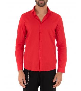 Camicia Uomo Lino Paul Barrell Colletto Tinta Unita Rosso Sartoriale GIOSAL
