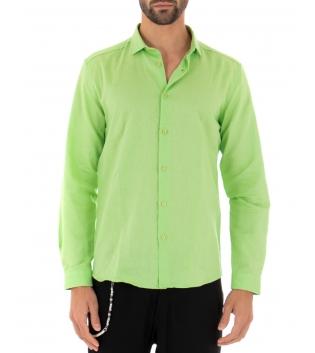Camicia Uomo Lino Paul Barrell Colletto Tinta Unita Verde Acido Sartoriale GIOSAL
