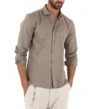 Camicia Uomo Lino Paul Barrell Colletto Tinta Unita Fango Sartoriale GIOSAL