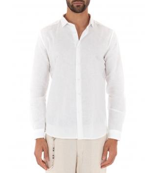 Camicia Uomo Lino Paul Barrell Colletto Tinta Unita Bianco Sartoriale GIOSAL