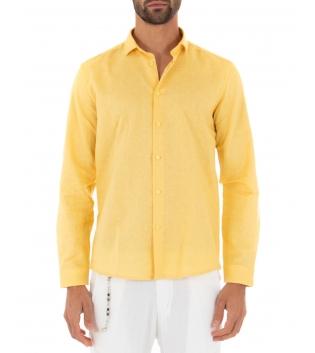 Camicia Uomo Lino Paul Barrell Colletto Tinta Unita Giallo Sartoriale GIOSAL