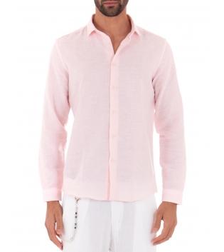 Camicia Uomo Lino Paul Barrell Colletto Tinta Unita Rosa Sartoriale GIOSAL