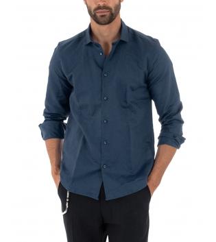 Camicia Uomo Lino Paul Barrell Colletto Tinta Unita Blu Sartoriale GIOSAL