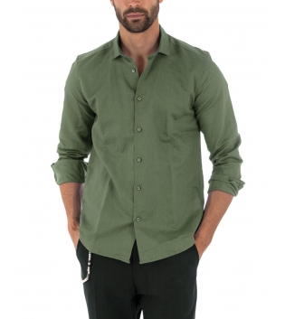 Camicia Uomo Lino Paul Barrell Colletto Tinta Unita Verde Militare Sartoriale GIOSAL