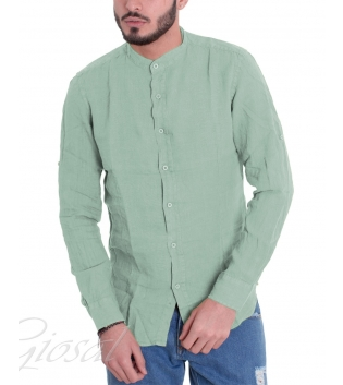 Camicia Uomo Collo Coreano Tinta Unita Verde Chiaro Lino Maniche Lunghe GIOSAL