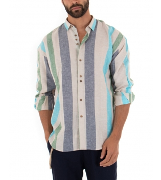Camicia Uomo Lino Paul Barrell Oversize Righe Verde Multicolore Fondo Beige Casual GIOSAL