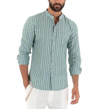 Camicia Uomo Lino Fondo Verde Collo Coreano Righe Sottili Bianche Casual GIOSAL