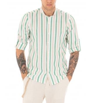 Camicia Uomo RIgata Casual Maniche Lunghe Collo Coreano Verde GIOSAL-Verde-S