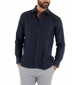 Camicia Uomo Maniche Lunghe Basic Regular Fit Tinta Unita Blu Casual Tasca GIOSAL